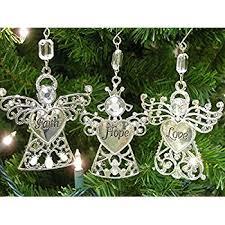 faith set of 3 ornaments with faith