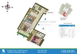 Marina Square Floor Plan Rent Apartment 1 Bedrooms Al Maha Tower Al Reem Island Ap22190abu