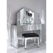 bedroom glamorous glass mirrored makeup vanity with drawers and