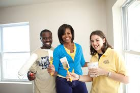 michelle and barack help paint a habitat for humanity basement