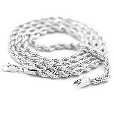 ebay necklace images Mens 18k white gold plated 24in rope chain necklace 4 mm ebay jpg