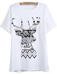 white short sleeve floral deer print t shirt shein sheinside