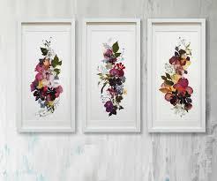 pressed flowers set of 3 original plants floral horizontal artwork flowers