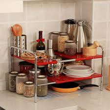 Under Cabinet Dish Rack Telescopic Double Rack Kitchen Shelving Storage Rack Under The