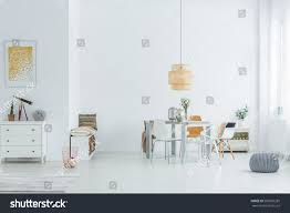 white loft dining table chairs dresser stock photo 569039269