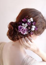 bridal hair clip purple wedding hair accessories bridal hair clip floral hair