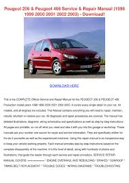 peugeot 206 peugeot 406 service repair manual by jeannettehammond