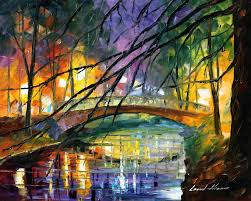 enigmatic bridge palette knife oil painting on canvas by leonid
