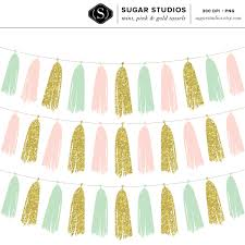 Gold Tassels On American Flag Mint Pink And Gold Tassel Garland Digital Clip Art Commercial