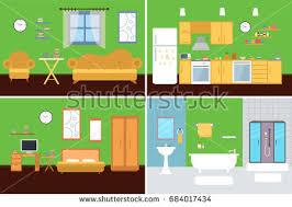 set vector interiors furniture equipment design stock vector