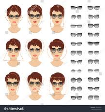 triangle and rectangular face hairstyle female woman sunglasses shapes different women face stock vector 492340027