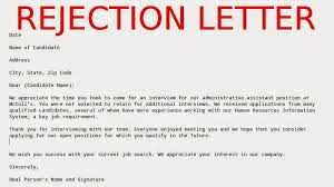 Rejection Letter Recruitment Agency may 2015 sles business letters