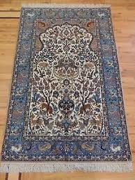 semi antique persian isfahan 3x5 oriental rug silk tree life blue