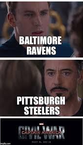 Ravens Steelers Memes - marvel civil war 1 meme imgflip