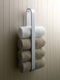 bathroom brown indutrial wall mounted towel bar with wood shelf