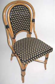 Wooden Bistro Chairs French Rattan Wood Frame Dining Bistro Chair With Black Tan Glossy