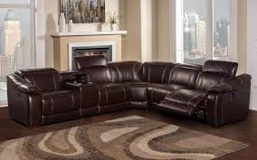 Brown Leather Sectional Sofa by Brooklyn Brown Reclining 6 Piece Sectional Sofa With Bluetooth