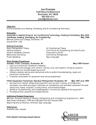 hvac sample resume template for laborer service technician