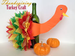 learn how to make this wine bottle turkey craft idea