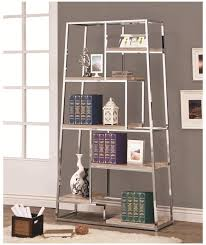 Coaster Bookshelf Coaster Bookcases Tapered Chrome Bookshelf With Staggered Wood Shelves