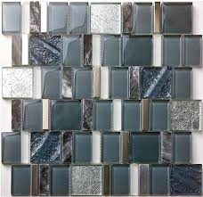 Crystal Glass Mosaic Wall Tile Kitchen Backsplash SGMT Grey - Stone glass mosaic tile backsplash