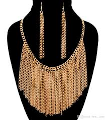allergy free jewelry 2017 copper fashion jewelry sets luxury tassel chains allergy free