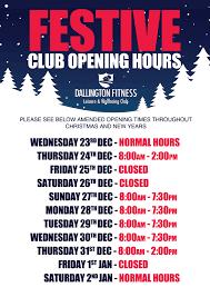 festive club opening times dallington fitness