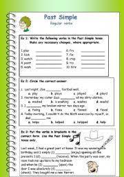 past simple regular verbs worksheet by sharbel18