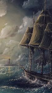 Sail Boat Storm Sea Lighthouse Iphone 6 Hd Wallpaper Hd Free