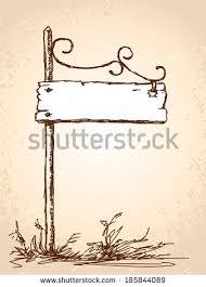 vector sketch retro sign board steel stock vector 185844089