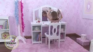 coiffeuse chambre fille coiffeuse en bois pour enfant avec chaise et miroir kidkraft