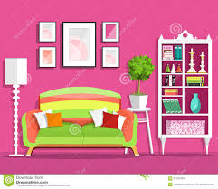 home interior design modern living room with pink sofa vector