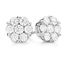 what size diamond earrings cluster stud earrings with 1 carat tw of diamonds in 10ct white gold