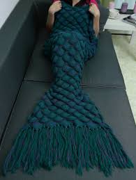 soft fish scales tassel design crochet mermaid tail blanket blue