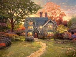 kinkade gingerbread cottage painting gingerbread cottage