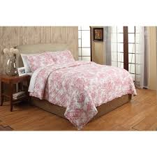 french toile red cotton 3 piece quilt set free shipping today