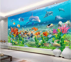 compare prices on dolphin wall mural online shopping buy low 3 d photo wallpaper dolphins coral sea pavilion decor custom mural 3d wall murals wallpaper for