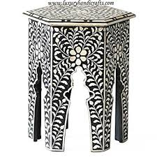 bone inlay side table amazon com hexagonal bone inlay side table black kitchen dining