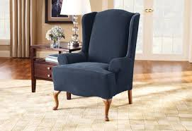 slipcover wing chair blue wingback chair slipcovers sure fit stretch pique wing chair