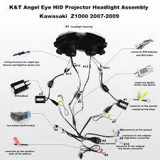 angel eye hid projector headlight assembly kawasaki z1000 2007 2009