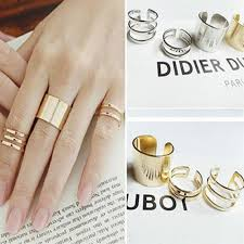 gold knuckle rings images 3 pcs punk gold silver rings female anillos stack plain band midi jpg