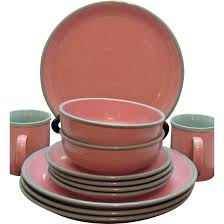 vintage stoneware dishes by ranmaru in pomona pink 1960s like new