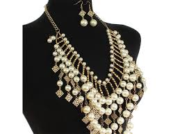 pearl chandelier pearl chandelier fringe statement necklace set addicts