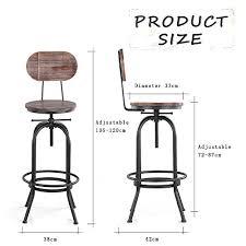 Lot De 4 Chaise Industrielle Métal Cuivré Indus Lot De 4 Chaises De Bar De Style Industriel En Bois Réglable En
