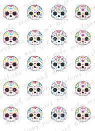 20 colorful sugar skull assortment water slide nail decals skull