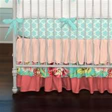 coral and teal floral 3 piece crib bedding set carousel designs