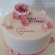 Pink Rose Flower Cream Birthday Cake With Wife Name
