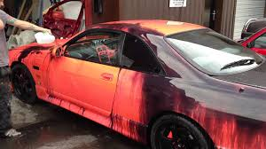nissan skyline painted with heat sensitive color changing paint