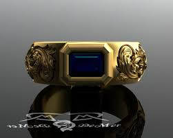 midnight blue wedding band mens unique blue sapphire and heavy solid gold wedding band