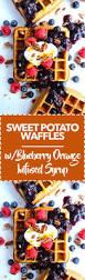 sweet potato waffles with blueberry orange infused syrup fresh